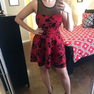 Lovely Red/Black Dress with Velvet Accents